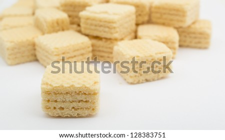 heap wafers on a white - stock photo