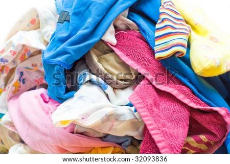 Heap Wash clothes close-up - stock photo