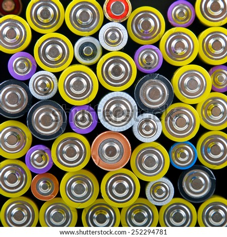 heap with batteries - stock photo