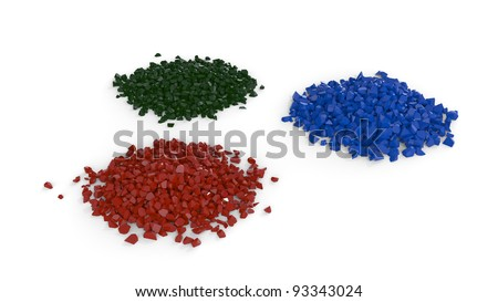 Heaps made of color particles over white background - stock photo