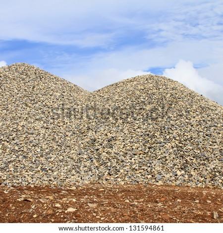 Heaps of granite elimination - stock photo