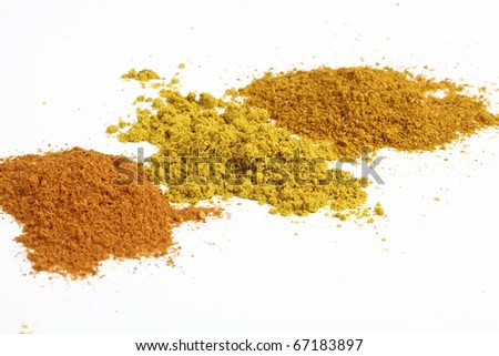 Heaps of various ground spices on white background