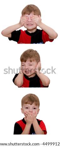 Hear no evil, see no evil and speak no evil - stock photo