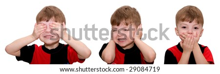Hear no evil, see no evil and speak no evil, boy isolated on white background - stock photo