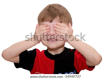 Hear no evil, see no evil and speak no evil, boy isolated on white background