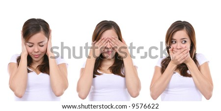 Hear no evil, see no evil and speak no evil, girl isolated on white background - stock photo