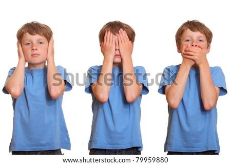 hear no evil - see no evil - speak no evil - stock photo
