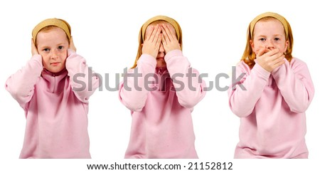 hear no evil, see no evil, speak no evil , girl isolated on white background - stock photo