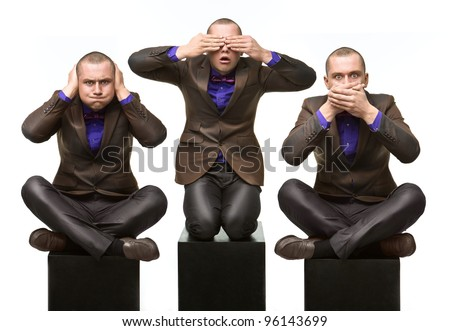 Hear no evil, see no evil, speak no evil. Male Version - stock photo