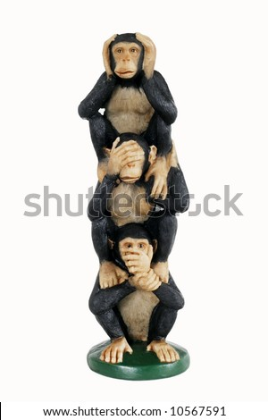 hear no evil, see no evil, speak no evil monkey figurine - stock photo