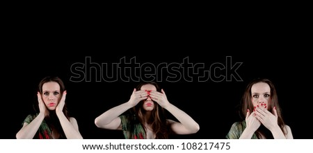 Hear no evil, see no evil, speak no evil; 3 pictures of a lady with green and red silk scarf with hands covering her ears, eyes and mouth - stock photo