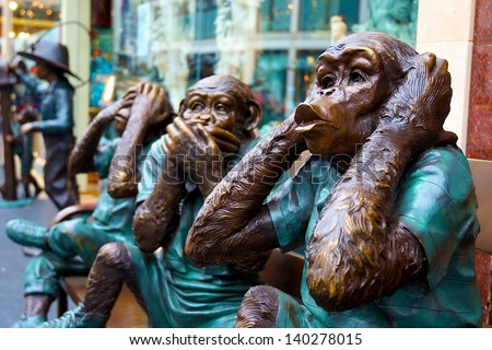 Hear no evil, speak no evil, see no evil �¢?? 3 wise monkeys statues in San Francisco - stock photo