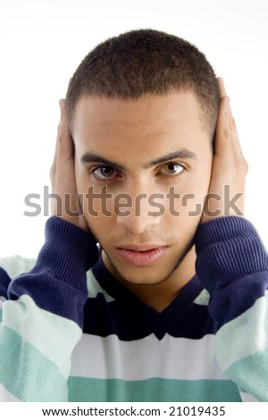 hear no evil  with white background - stock photo