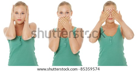Hear no See no Speak no evil.  Isolated on white background. - stock photo