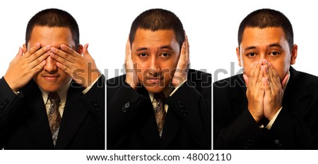 Hear, see, speak no evil businessman isolated on white background - stock photo
