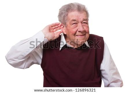 Hearing impaired senior - stock photo