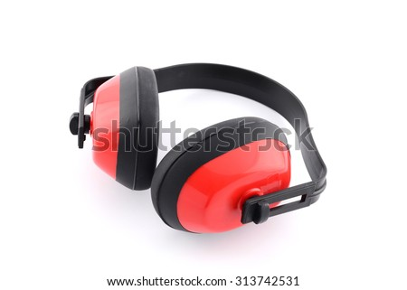 Hearing protection ear muffs on white background - stock photo