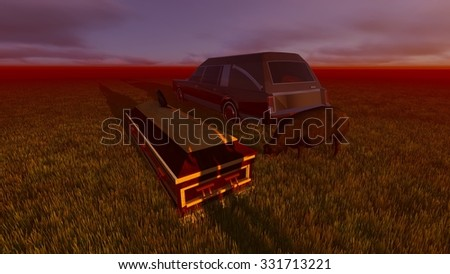 Hearse and casket landscape - stock photo