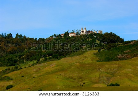 Hearst Castle as Seen From The Coast Highway in Central California - stock photo