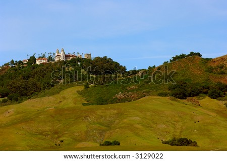 Hearst Castle as viewed from Highway One in Central California - stock photo