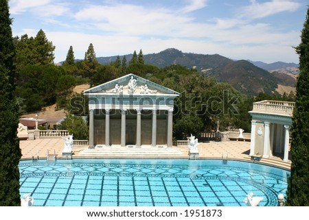 Hearst Castle outside pool - stock photo