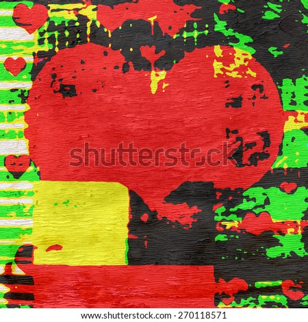 heart abstract design on wood grain texture - stock photo