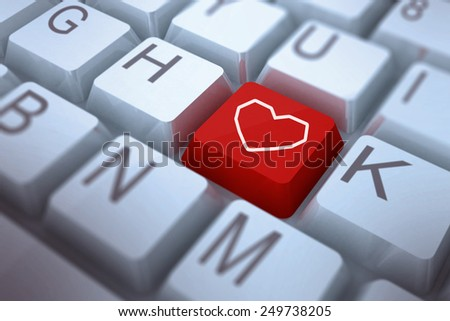 Heart against red key on keyboard