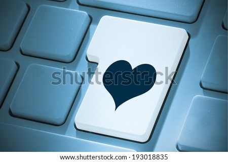 Heart against white enter key on keyboard