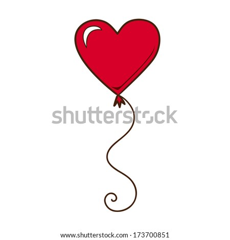 Heart air balloon isolated on white. Sketch element for romantic design