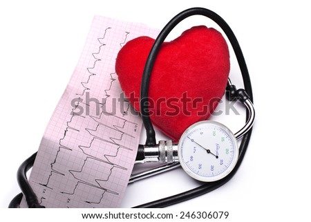 Heart analysis, electrocardiogram graph (ECG), red heart - stock photo
