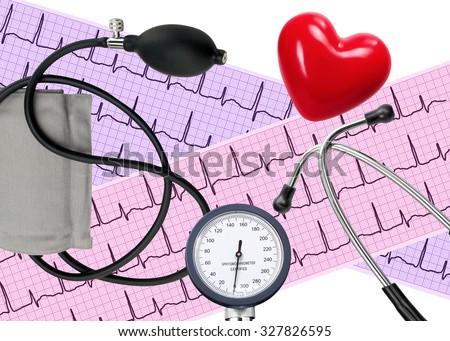 Heart analysis, electrocardiogram graph, stethoscope, heart and blood pressure meter - stock photo