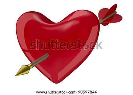 heart and arrow on white background. Isolated 3D image - stock photo