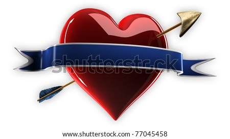 Heart and Arrow with Ribbon - stock photo