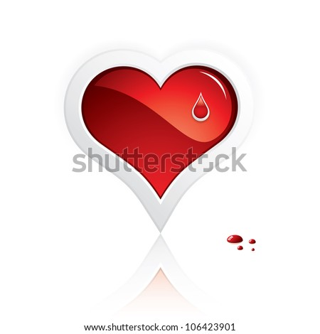 Heart and blood drop isolated on white background