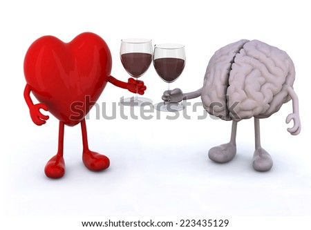 heart and brain with arms and legs make cheers with glasses of red wine - stock photo