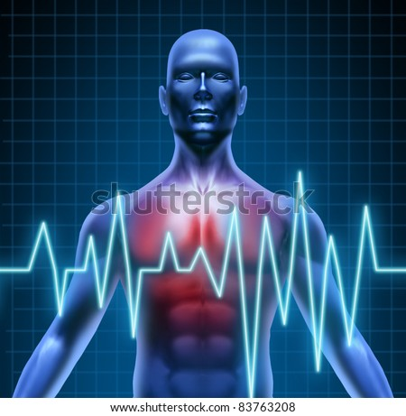 Heart and coronary disease representing the medical concept of cardiac problems stemming from human blood circulation with the heart and arteries represented by a man with a ekg monitor symbol. - stock photo