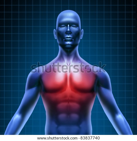 Heart and coronary disease representing the medical concept of cardiac problems stemming from human blood circulation with the heart and arteries represented by a man with a chest highlighted in red. - stock photo