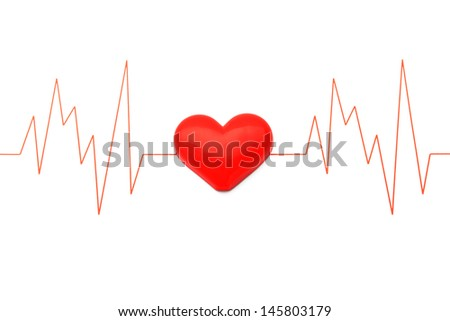Heart and electrocardiogram - stock photo
