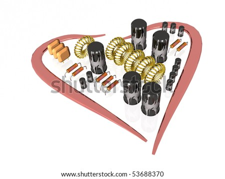 Heart and electronic components on white background.