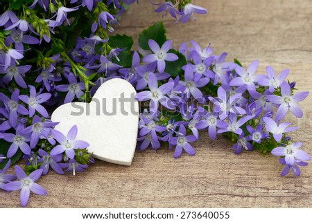 Heart and flower on wood - stock photo