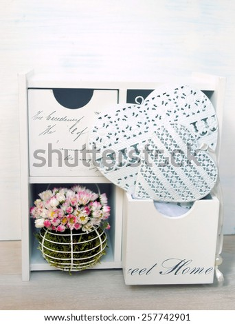heart and flowers - stock photo