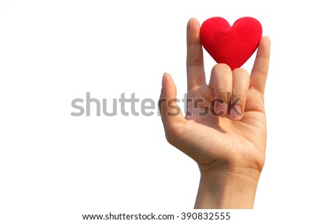 heart and hand isolated on white. - stock photo