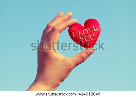 heart and hand Vintage Style - stock photo