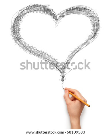 heart and hand with pencil isolated on white background - stock photo