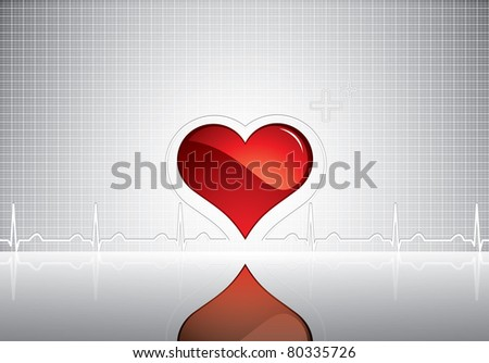 Heart and heartbeat symbol on reflective surface.Medical background