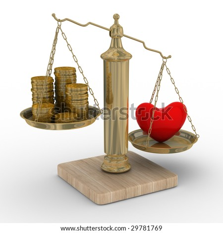 Heart and money for scales. Isolated 3D image. - stock photo