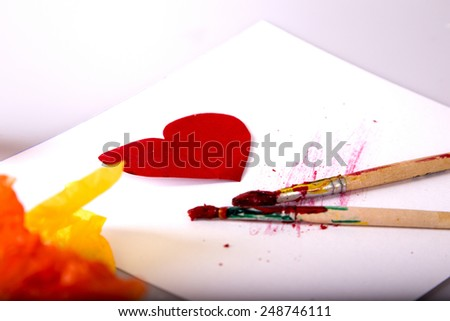 Heart and paint - stock photo