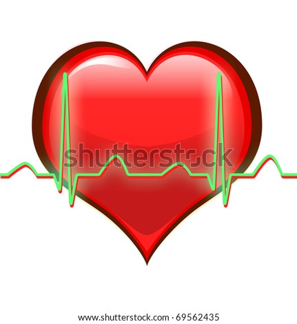 Heart and waveform isolated on white - stock photo