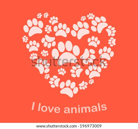 Heart animal's footprints illustration - stock photo