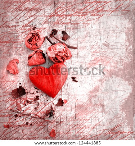 Heart as a symbol of love/vintage card with red heart and dry roses  on grunge old background/valentines day background - stock photo